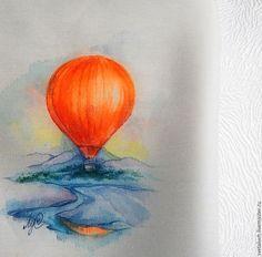 Купить На большом воздушном шаре..... - комбинированный, рисунок, воздушный шар…