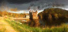 Tableau du château de La Roche barbouillé panoramique en Peinture digitale par la Boutique photo déco