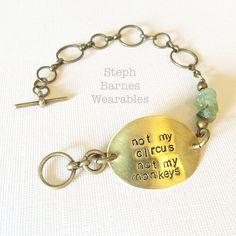 NOT MY CIRCUS not my monkeys bracelet in by StephBarnesWearables