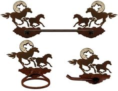 Horses on the Run Burnished Steel Bath Set 3 piece - Search for Burnished Steel Finished Products! So Cool!