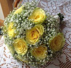 Yellow rose and Gypsophelia wedding bouquet