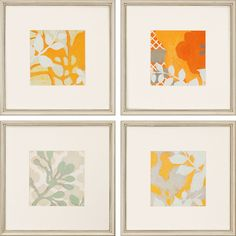 Ginger Blossoms II 4 Piece Framed Painting Print Set