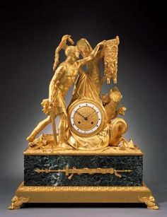 Depicting Jason capturing the Golden Fleece, the young warrior reaching into a tree branch for the fleece with the slain hydra at his feet, the tree centring the ormolu dial with Roman chapter ring, on a rectangular base with animal paw feet. Antique Mantel Clocks, Antique Clocks For Sale, Antique Stores, Charles Eames, Sistema Solar, French Clock, Classic Clocks, Retro Clock, Wall Clock Online
