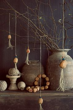 Get inspired with some beautiful natural decoration like these hanging walnut decorations.