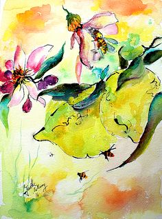 Lemon Garden Blossoms And Bees by Ginette Callaway