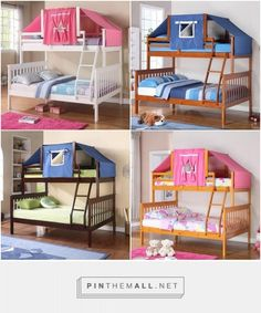 Twin over Full Bunk Bed with top tent. Bed comes in white, honey, light espresso or dark cappuccino.  Tent comes in pink or blue.