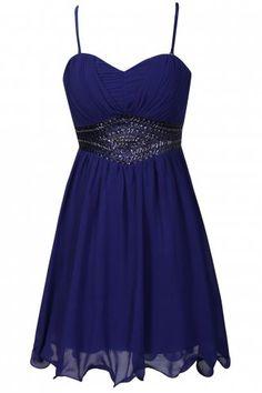 Little Mistress Blue Embellished Bustier Dress