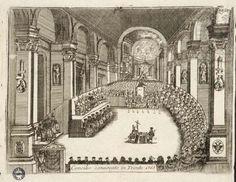 """Dipinto di Vincenzo Maria Coronelli ,""""Concilio conuocato di Trento 1563"""", durante questa riunione si stabilirono delle norme da osservare durante la celebrazione delle messe."""
