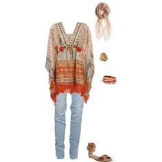 """""""Boho Orange Tunic"""" by rihams on Polyvore  Really love this look"""