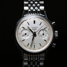 HEUER CARRERA  EARLY 60', RED TACHY SCALE, VALJOUX 92  3647 T