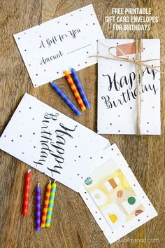 Free Printable Gift Card Envelopes for Birthdays from @Kristin Plucker Bergthold | Yellow Bliss Road