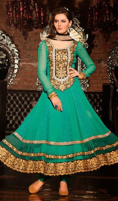 Turquoise Embroidered Georgette Anarkali Suit Price: Usa Dollar $147, British UK Pound £86, Euro108, Canada CA$158 , Indian Rs7938.