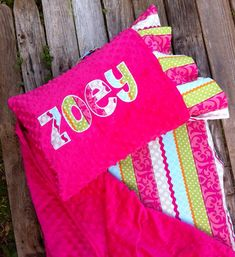 Applique Chic Nap Mat cover with attached Minky Blanket & Ruffle Pillow Case for the Kindermat Daydreamer