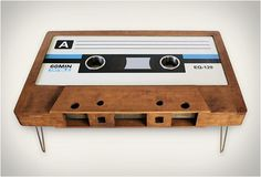 Cassette Tape Coffee Table...please excuse me while I wipe the drool off my chin. From Tayble.