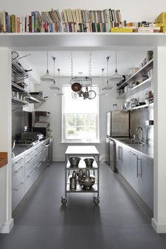 Right now galley kitchens are prevalent in an apartment or small home. Galley kitchen remodel ideas must be efficient for cooking also for the meal space. Bakery Kitchen, Industrial Kitchen Design, Kitchen Remodel, Commercial Kitchen Design, New Kitchen, Restaurant Kitchen, Kitchen Layout, Industrial Style Kitchen, Trendy Kitchen