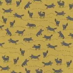 Timeless Treasures House Designer - Little Red - Wolf in Mustard
