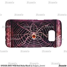 SPIDER AND WEB Red Ruby Black Samsung Galaxy S7 Case #nature #animals #fineart #spiders #antique #electronics #case