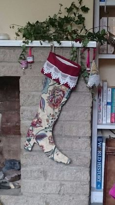 Luxury Christmas boot stocking to conceal that special gift: Floral/lace