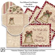 Card Making - Printable Christmas Cards - Vintage, Victorian Christmas - Gina Jane.  Make your own Christmas Cards.  Gina Jane Designs - DAISIE Company