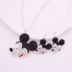 Fashion Mickey Head Mouse Jewelry Set For Women Rhinestone Crystal Earrings Necklaces set Girls Kids Gift