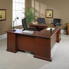 Dark Finish Hardwood Executive Desk for Home Office -Wood Office Desk