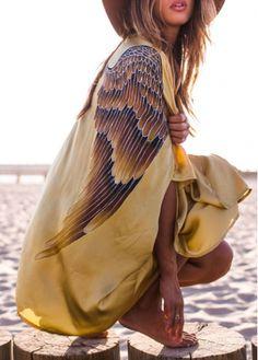 Eagle Wings Print Golden Bikini Cover Ups