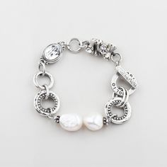 White freshwater pearl and classic Swarovski crystal designer bracelet from Miglio Crystal Bracelets, Pearl Bracelet, Bracelet Designs, Necklace Designs, White Freshwater Pearl, Jewelry Design, Jewellery Diy, Designer Jewellery, Pearl Beads