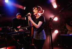 chvrches--Iain Cook and Lauren Mayberry of Chvrches perform a private concert for SiriusXM listeners, which will air on the SiriusXMU Channel, at The McKittrick Hotel in New York City on December 10th, 2013.