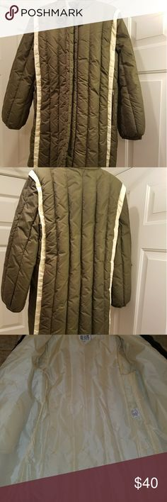 Large (12) bill Blass jacket Green and cream good condition preowned Longline coat. I'm 5'5 and it comes to my knee. No hood. Bill Blass Jackets & Coats