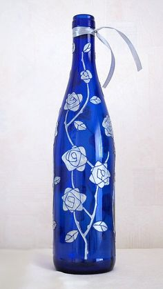 Hand painted wine bottle - Moon roses