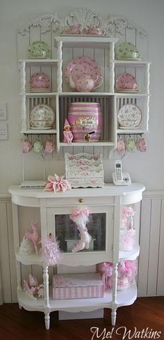 My shabby chic plate rack all decorated for pink Christmas :) by DeeDeeBean