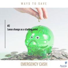 Money Monday: Ways to save for emergency cash! Tip #2  #money #change #saving #avante  www.avantefinancial.com.au