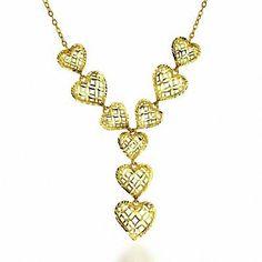 "Zales Diamond-Cut Filigree Heart Lariat Necklace in 10K Gold - 17"""
