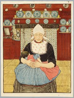 Volendammer vrouw met kind in interieur ~ 1910-1930 - Sjoerd Hendrik de Roos