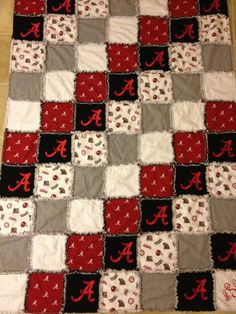 Alabama football embroidered flannel rag quilt ROLL by creesher, $150.00