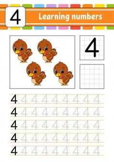 Trace and write the number four Vector Preschool Learning Activities, Preschool Printables, Preschool Lessons, Kids Learning, Preschool Writing, Numbers Preschool, Learning Numbers, Kindergarten Goals, Kindergarten Math Worksheets
