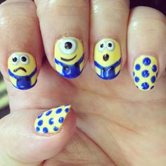 Nails nailart design shellac gel gelish minion