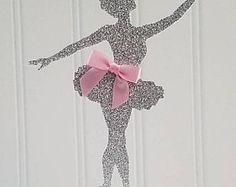 Ballerina Cake Topper, silver Glitter ballerina Topper, ballerina Baby shower, ballet cake topper, little ballerina baby shower, ballerina