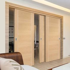 Thruslide Forli Oak Flush - 3 Sliding Doors and Frame Kit - Aluminium Inlay - Prefinished - Lifestyle Image. Internal Sliding Doors, Sliding Wardrobe Doors, Sliding Glass Door, Track Door, Wardrobe Sets, Flush Doors, Architrave, Door Kits, Oak Doors
