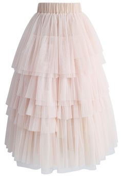 Love Me More Layered Tulle Skirt in Nude Pink - New Arrivals - Retro, Indie and Unique Fashion