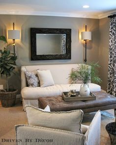 House Tour: Living Room - Driven by Decor Sconces Living Room, Living Room Decor, Dining Room, Small Living Room Design, Living Room Designs, Contemporary Living Room Furniture, Home Furniture, Bedroom Furniture, Luminaire Mural