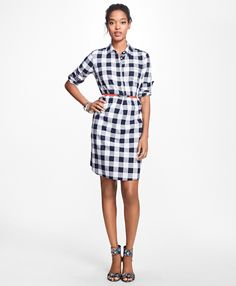 Gingham Cotton Twill Shirtdress - Brooks Brothers