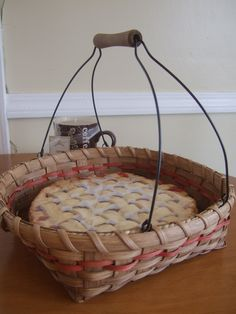 Pie Carrier Basket  - Hand woven with red accent reed and stained using my own stain made from pecan shells. $25.00, via Etsy.