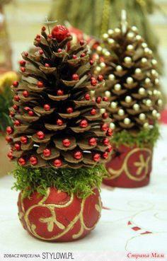 Мини-ёлочки из шишек, деревья из фетра, ажурная ёлочка,ёлочка из ёршиков и самые разнообразные ёлочки - Поделки - Страна Мам