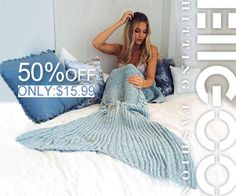 Knitted Mermaid Blanket Adult Mermaid Tail Blanket For Sofa Throw Blankets Available