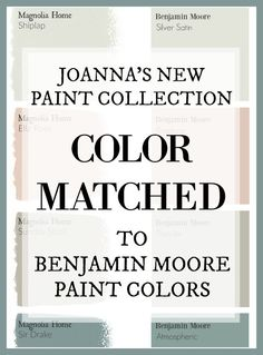 Fixer Upper Paint Colors: Magnolia Home Paint Color Matched to Benjamin Moore Fixer Upper's Joanna Gaines has a new paint line. And this site has color matched every color for you so you can get the fixer upper look at your local paint store! Fixer Upper Paint Colors, Matching Paint Colors, Fixer Upper White Paint, Interior Paint Colors, Paint Colors For Home, Paint Colours, Interior Painting, Interior Design, Hgtv Paint Colors