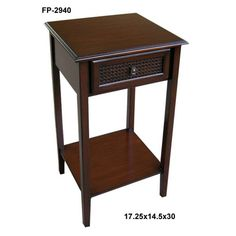Cheungs Rattan Wooden Side Table with One Drawer and Shelf - FP-2940