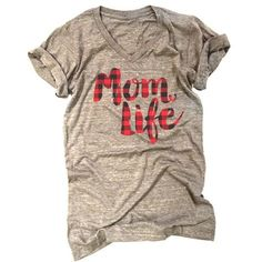 Our popular buffalo plaid print technique, now on Mom Life tees! **Please note: this is printed on the same style tee as our Thankful plaid and Mom Life charcoal/gold tee. If you own one of those item