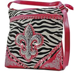 Pink and Zebra Fleur De List X-Body PURSE Bag! Crystal Bling! Available at Posh By Tori Boutique. Check out our store on YouTube! https://www.youtube.com/watch?v=kpzTlDVy16k  - If you're not in MI and would like to order, send us an email or contact us through facebook: http://www.facebook.com/poshbytori