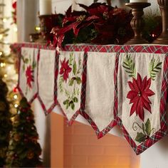 From our Plaid Tidings Collection, our mantel scarf combines appliqued poinsettias, embroidery, bells and a handsome plaid border to create a classic touch for your holiday decor. It's exclusively ours and coordinates with our Plaid Poinsettia Tree Skirt.